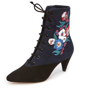Tory Burch Cassidy Lace Up Embroidered Booties 6.5